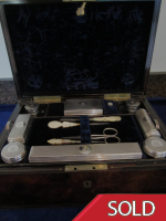 Victorian Rosewood Ladies Travelling Box with Silver Fittings L.1851