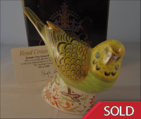 Royal Crown Derby Paperweight - Spangle Grey Green Budgerigar