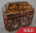 Antique Georgian Tortoiseshell and Mother-of-Pearl Tea Caddy