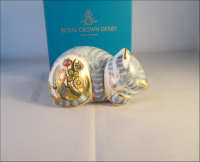 Royal Crown Derby Paperweight - Sleepy Tabby Kitten