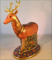 Royal Crown Derby Paperweight - Derbyshire Heraldic Stag Limited Edition Rare