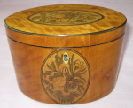 Antique Georgian Satinwood Oval Tea Caddy....Rare