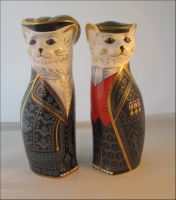 Royal Crown Derby Paperweights - Pearly King and Queen Cats