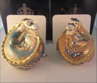 Pair Royal Crown Derby Paperweights